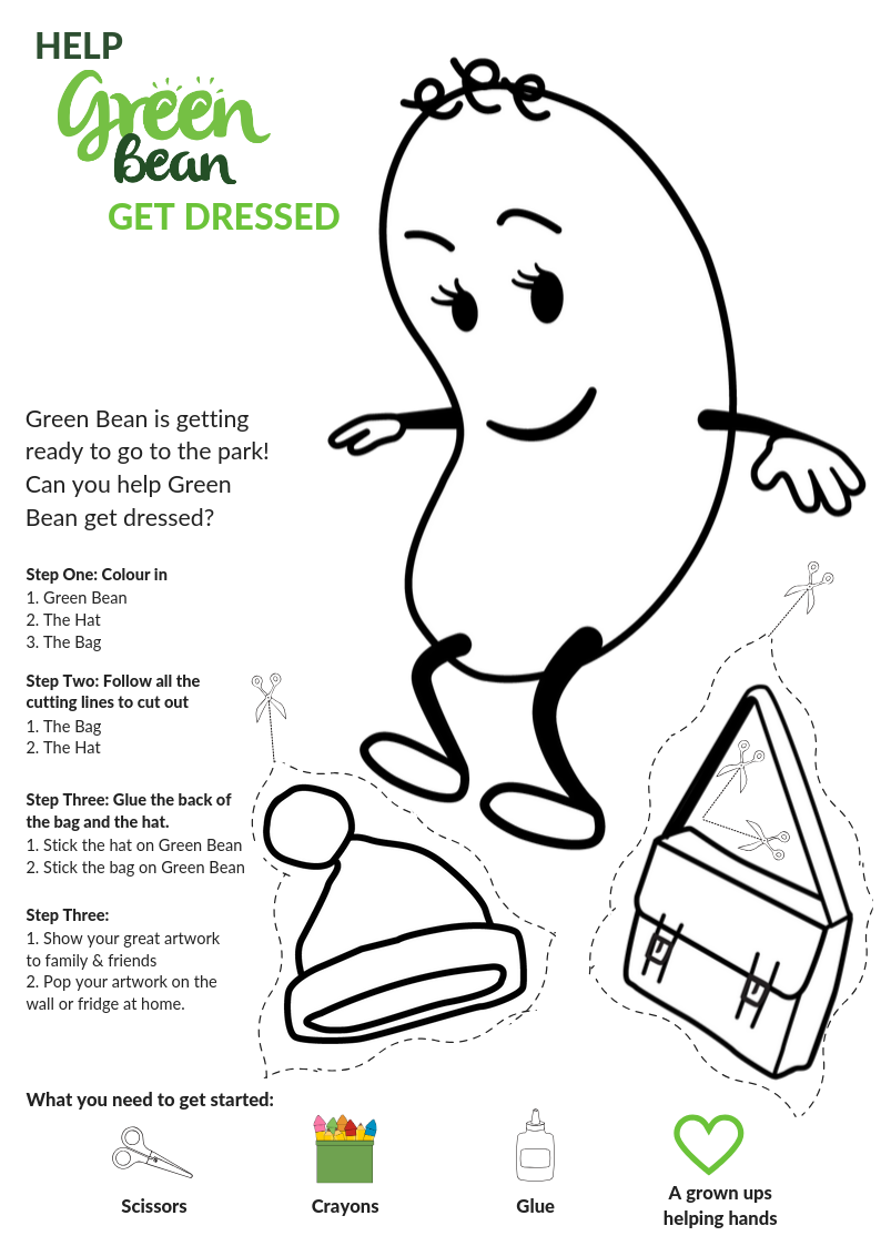 Green Bean and Mr Bear Winter fun sheet